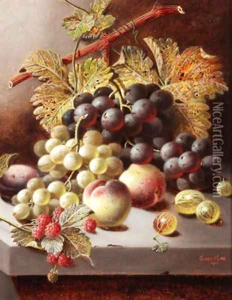 Still Life With Peaches, Grapes And Raspberries Oil Painting - Oliver Clare