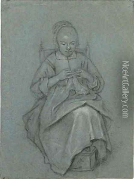 A Seated Young Woman Embroidering A Cloth, Her Feet Resting On A Foot-Warmer Oil Painting - Quiringh Gerritsz. van Brekelenkam