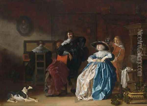 An Elegant Couple Conversing, Another Couple At A Virginal Together With A Servant In An Interior Oil Painting - Anthonie Palamedesz