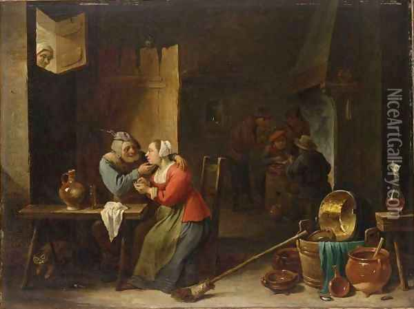 An Interior Of An Inn With An Amorous Couple At A Table, And Figures Smoking Near A Fireplace In The Background Oil Painting - David The Younger Teniers