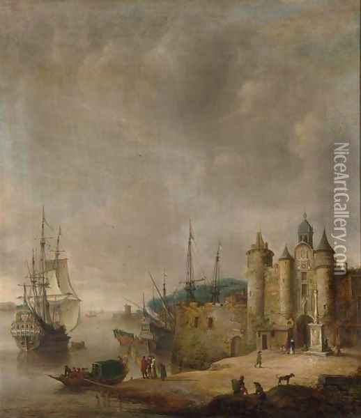 A Harbour Scene With A Man-Of-War And Other Shipping, Figures Conversing On The Shore Oil Painting - Jan Abrahamsz. Beerstraten