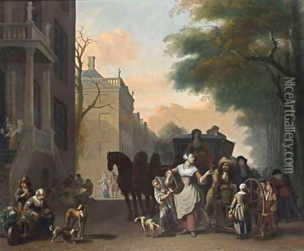 A View In Amsterdam With A Maid Flirting With A Knife Grinder On A Canal Oil Painting - Ludolf Backhuysen