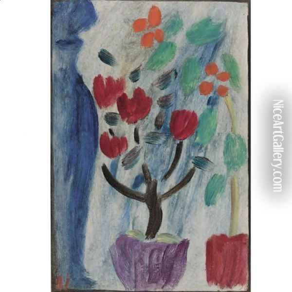 Grosses Stilleben Blumen (Large Still Life Flowers) Oil Painting - Alexei Jawlensky