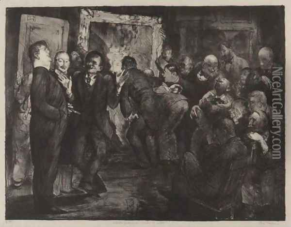 Artists Judging Works Of Art, Second State Oil Painting - George Wesley Bellows