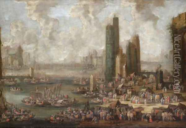 A Capriccio Harbour Scene With Numerous Figures And Merchants On The Quay Oil Painting - Pieter Casteels
