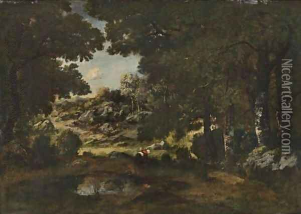 Faggot Gatherer In The Forest Oil Painting - Narcisse-Virgile D Az De La Pena