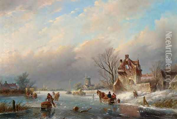 Figures On The Ice In A Winter Landscape Oil Painting - Jan Jacob Coenraad Spohler