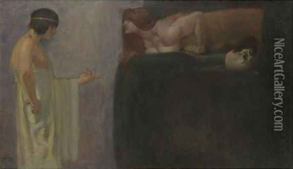 Oedipus Solves The Riddle Of The Sphinx Oil Painting - Franz von Stuck