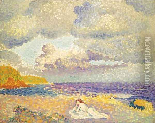 Avant L'Orage (La Baigneuse) Oil Painting - Henri Edmond Cross