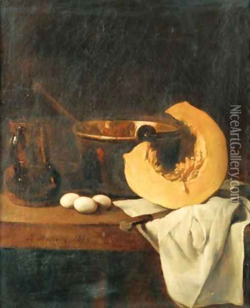 Still Life With Pumpkin And Eggs Oil Painting - Francois Bonvin