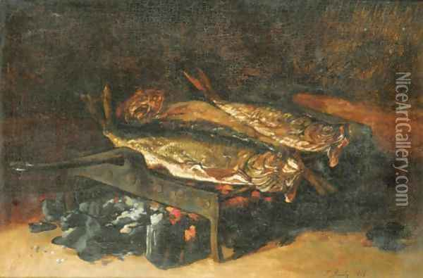 Still Life With Grilled Fish Oil Painting - Francois Bonvin