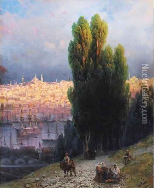 Constantinople, View Of The Golden Horn With A Self-Portrait Of The Artist Sketching Oil Painting - Ivan Konstantinovich Aivazovsky