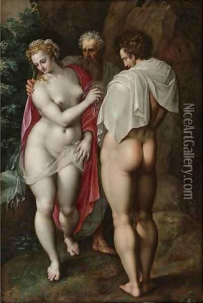 Adam And Eve Oil Painting - Jacob De Backer