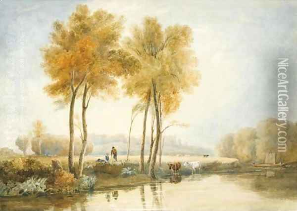 Boys And Cattle On The Banks Of The Thames, Windsor Oil Painting - David Cox