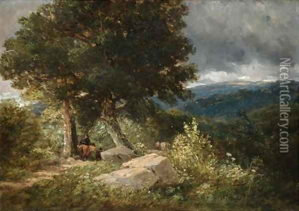 Travellers On The Road To Bettwys-Y-Coed Oil Painting - David Cox