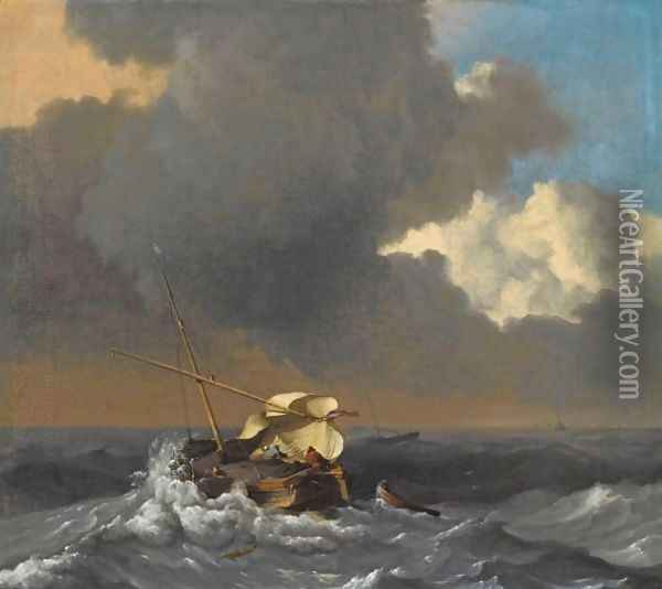 A Fishing Boat In A Rough Sea Oil Painting - Ludolf Backhuysen