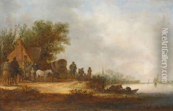A River Landscape With Travellers With Their Horse-Drawn Carriages And Wagons Halting At An Inn Oil Painting - Jan van Goyen