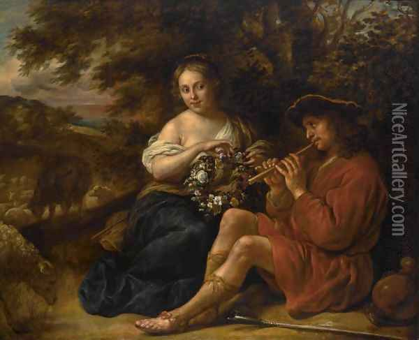 An Elegant Shepherdess Listening To A Shepherd Playing The Recorder In An Arcadian Landschape Oil Painting - Govert Teunisz. Flinck