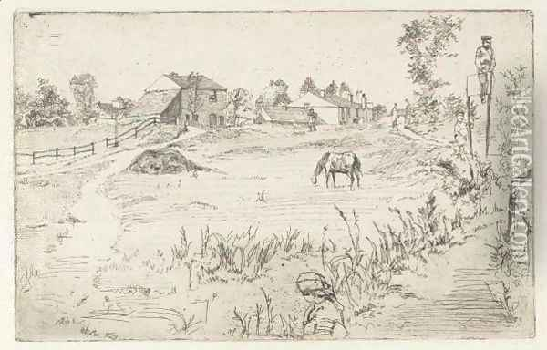 Landscape With The Horse Oil Painting - James Abbott McNeill Whistler