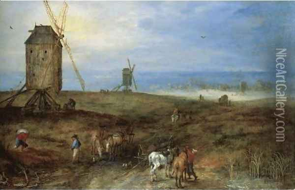An Open Landscape With Travellers Before A Windmill Oil Painting - Jan The Elder Brueghel