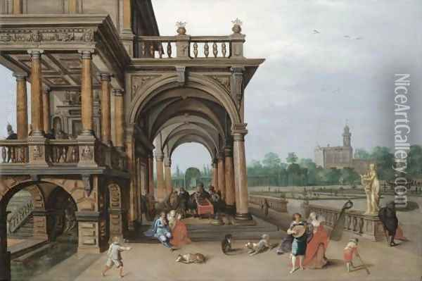 The Gardens Of A Palace, With Elegant Figures Strolling, Making Music And Playing Backgammon In A Loggia Oil Painting - Hendrick van, the Younger Steenwyck
