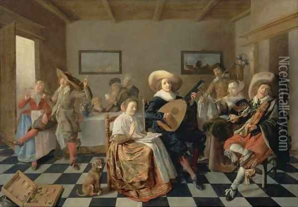 A Merry Company Oil Painting - Jan Miense Molenaer