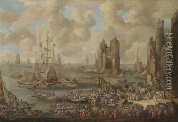A Busy Harbour With Numerous Merchants And Fishermen Oil Painting - Pieter Casteels