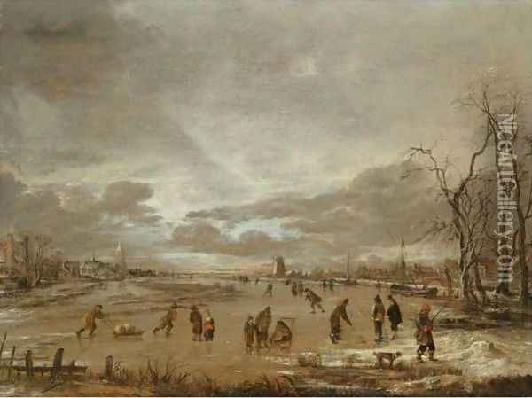 A Winter Landscape With Skaters And Kolf Players On A Frozen River Oil Painting - Aert van der Neer