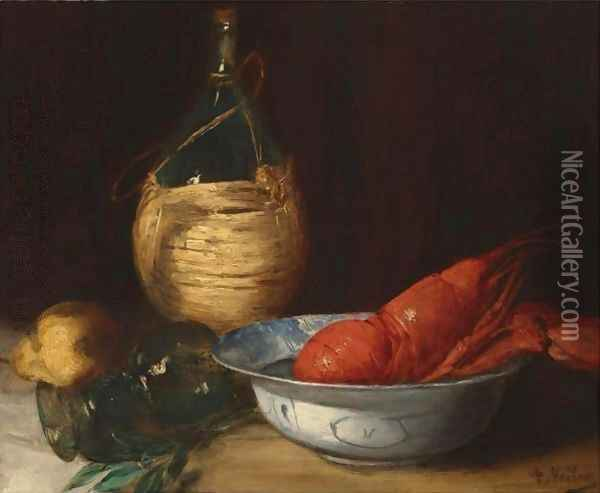 Still Life With Lobster Oil Painting - Antoine Vollon