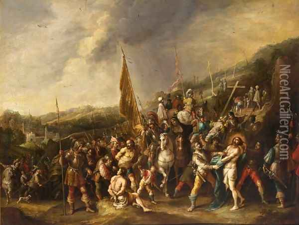 Christ On The Road To Cavalry Oil Painting - Frans the younger Francken