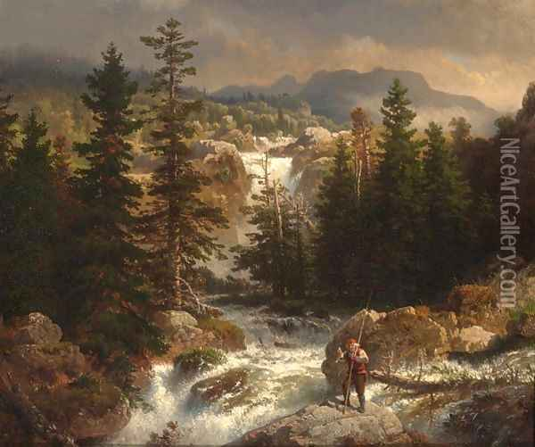 A Fisherman Inspecting His Catch Near A Mountain Torrent Oil Painting - Andreas Achenbach