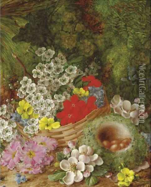 Still Life With A Basket Of Flowers Oil Painting - Vincent Clare