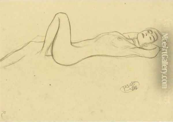 Lying Female Nude With Positioned Left Leg Oil Painting - Gustav Klimt
