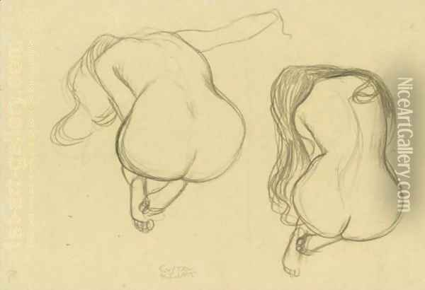 Studies Of A Seated Nude From Behind With Long Hair Oil Painting - Gustav Klimt