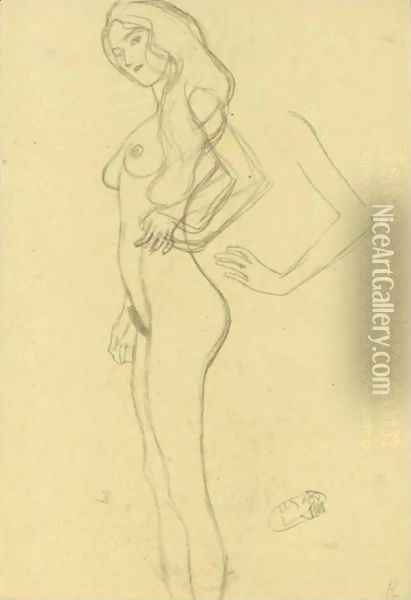 Standing Female Nude To The Left, Arm Study Oil Painting - Gustav Klimt