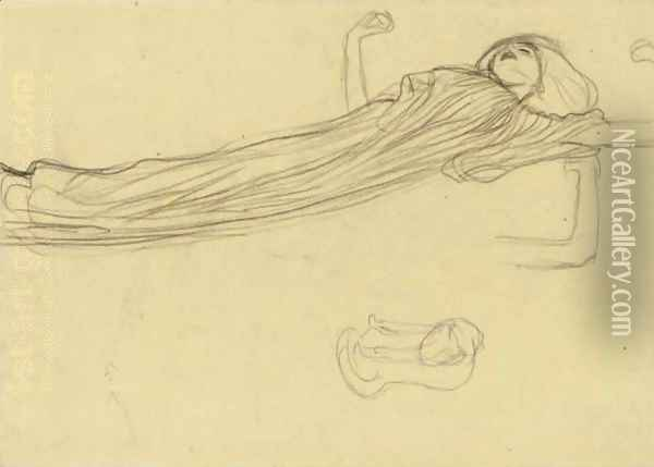 Floating Draped Figure To The Right, Repetition Of The Left Arm Oil Painting - Gustav Klimt