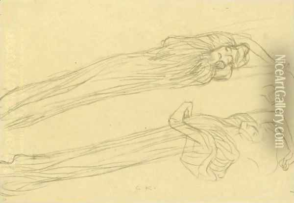 Two Studies Of A Floating Draped Figure To The Right Oil Painting - Gustav Klimt