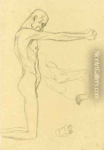 Kneeling Male Nude With Sprawled Out Arms, Male Torso Oil Painting - Gustav Klimt