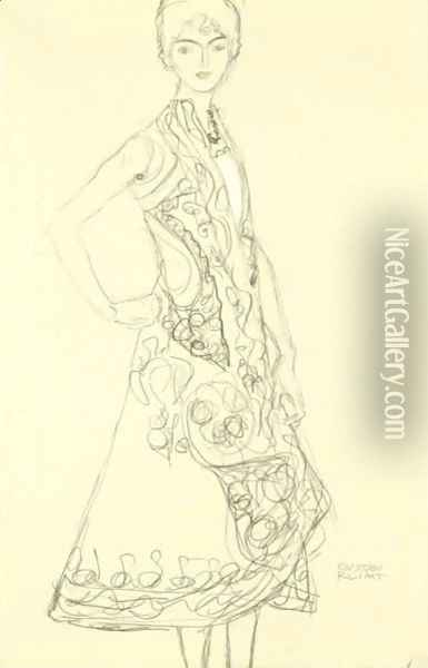 Woman In Richly Patterned Dress, Right Hand Resting On Hip Oil Painting - Gustav Klimt