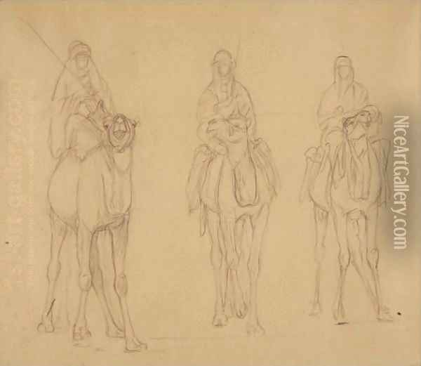Study Of Bedouins On Camels Oil Painting - Jean-Leon Gerome