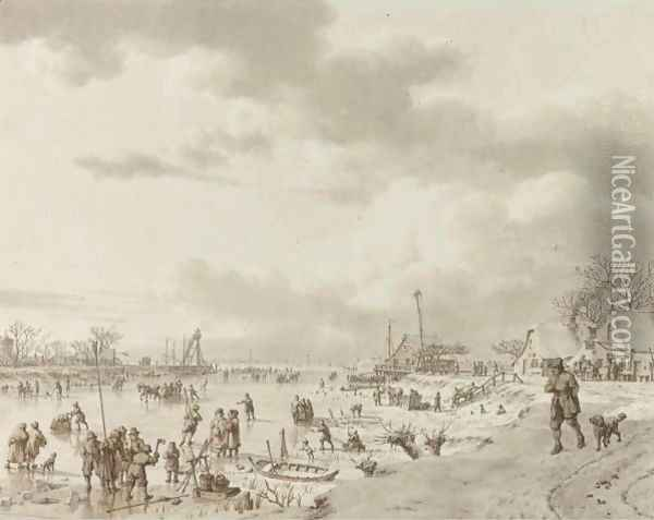 An Extensive Winter Landscape, With Figures On A Frozen River Leading To Open Water In The Distance Oil Painting - Jacob Cats