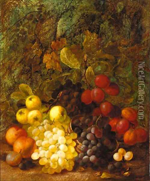 Still Life Of Grapes, Plums, Peaches And Apples Oil Painting - Vincent Clare