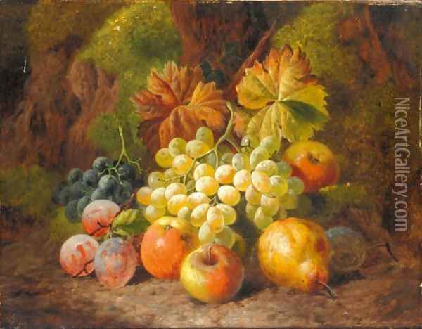 Still Life Of Apples, Pears, Plums And Grapes Oil Painting - Charles Thomas Bale
