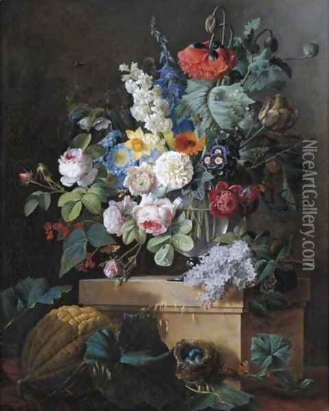 An Elaborate Still Life Of Flowers In A Glass Vase Resting On An Alabaster Pedestal With A Bird Nest And A Melon Below Oil Painting - Pierre-Joseph Redoute