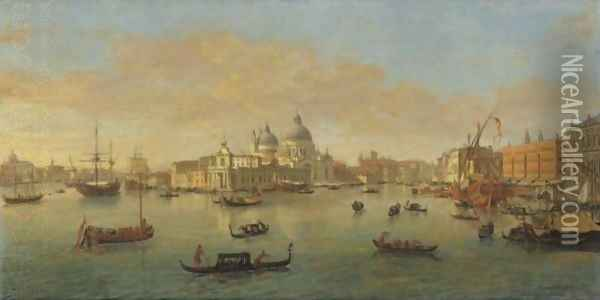 Venice, A View Of The Bacino Di San Marco Looking West, With The Punta Della Dogana And The Church Of Santa Maria Della Salute Oil Painting - Caspar Andriaans Van Wittel