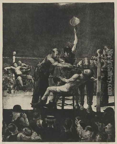 Between Rounds, First Stone Oil Painting - George Wesley Bellows