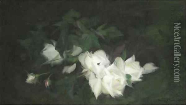 White Roses 2 Oil Painting - James Stuart Park