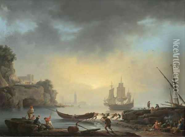 A Mediterranean Coastal Scene With Fishermen Bringing In Their Boats And A Man Of War At Anchor Beyond Oil Painting - Claude-joseph Vernet