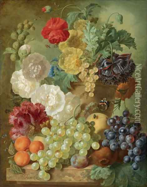 A Still Life With Hollyhocks, Poppies, An Anemone, Other Flowers And White-Currants In A Terracotta Vase Oil Painting - Jan van Os