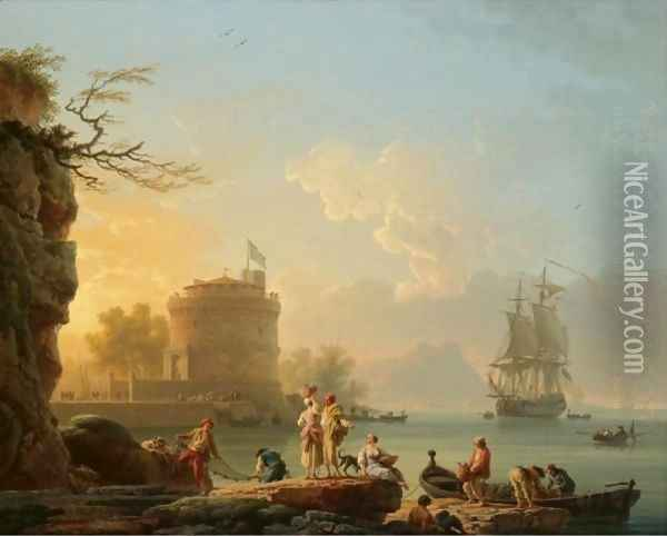 A Mediterranean Harbour Scene At Sunset, With Fishermen Unloading Their Catch Before A Round Fortress, A Man-Of-War At Anchor Beyond Oil Painting - Claude-joseph Vernet